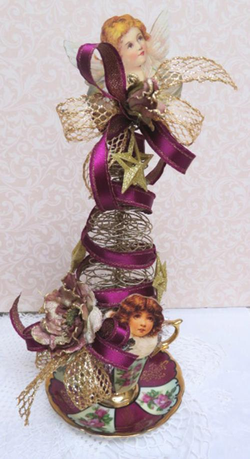 Burgundy Angel Tree-gold tree,  angel tree, cup tree, burgundy ribbon tree, burgundy cup and saucer tree, Christmas tree