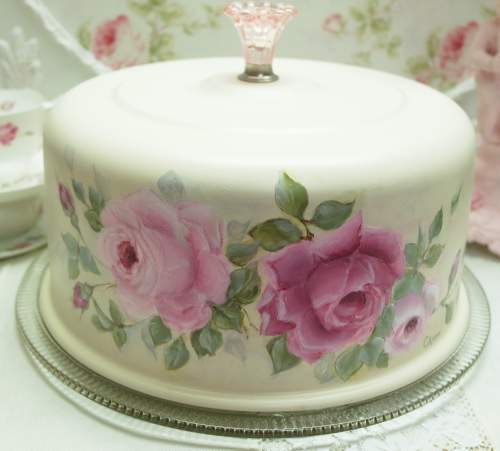 Rose Cake Cover II-Rose Cake Cover, cream cake cover, pink roses cake cover