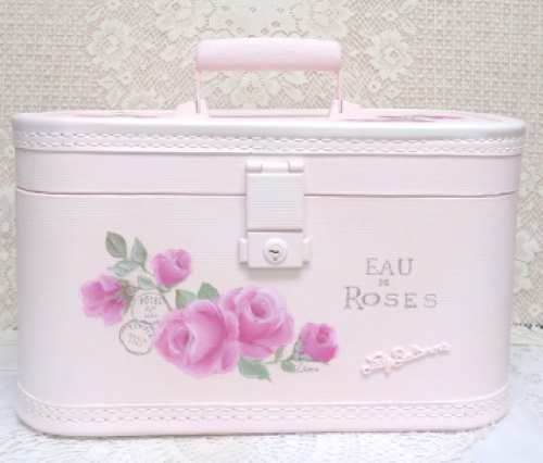 Paris Pink Train Case-pink train case,Paris train case, pink rose train case