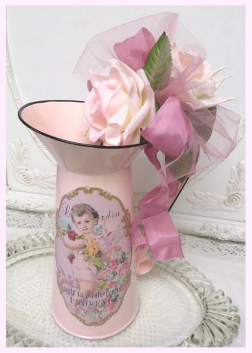 French Pitcher Cherub I-enamel pitcher, pink pitcher, french pitcher, cherub pitcher