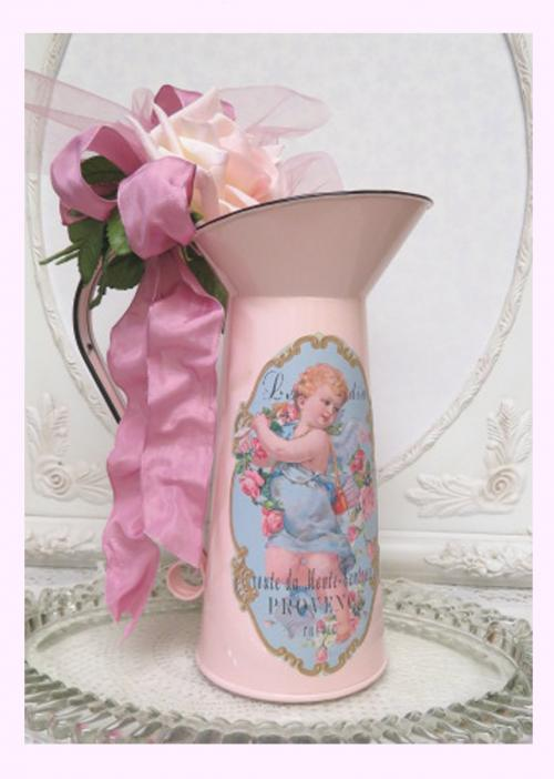 French Pitcher Cherub II-French Pink pitcher, cherub pitcher, pink pitcher, floral pitcher