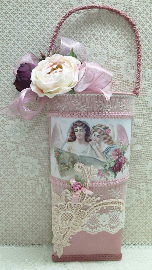 Angels Wall Pocket-wall pocket, pink wall pocket, angel wall pocket, pink wall hanging,