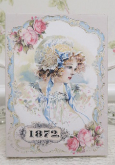 1872 Girl Music Box-girl music box, bonnet girl music box, rose music box