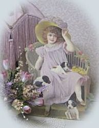 Lavender Girl with Puppies-lavender stand up