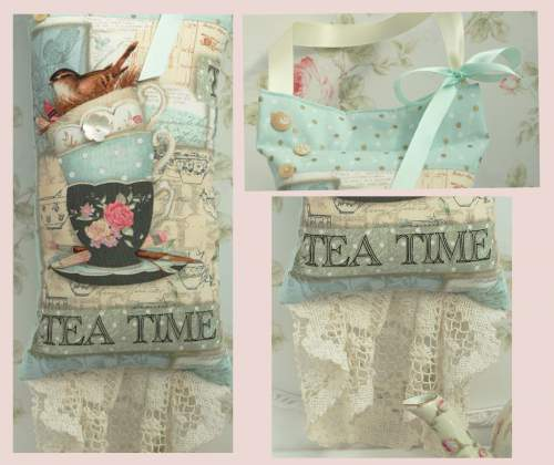 Tea Time Hanging Pillow-bird hanging pillow, teacup pillow, tea time pillow