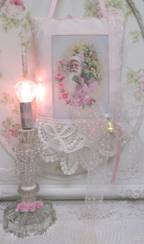 Light XIV-pink light, glass light, bubble light, pink rose light, glass lamp, table lamp