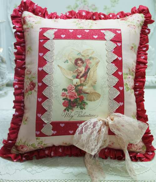 Cherub Dove Pillow-Cherub pillow, heart pillow, pink roses pillow