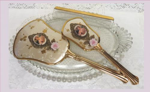 Vintage Vanity Set II-mirror, vanity set, brush