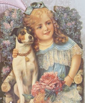Girl with Jack Russell-Blue girl standup