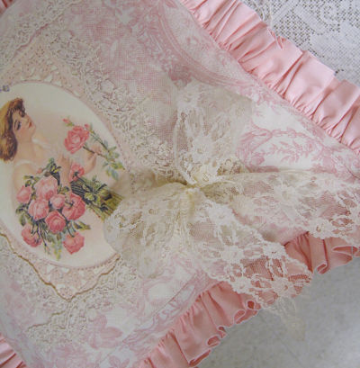 Pink Rose Bouquet Pillow I-pink pillow, pink rose pillow, pink ruffle pillow, cream lace pillow, woman with pink roses pillow