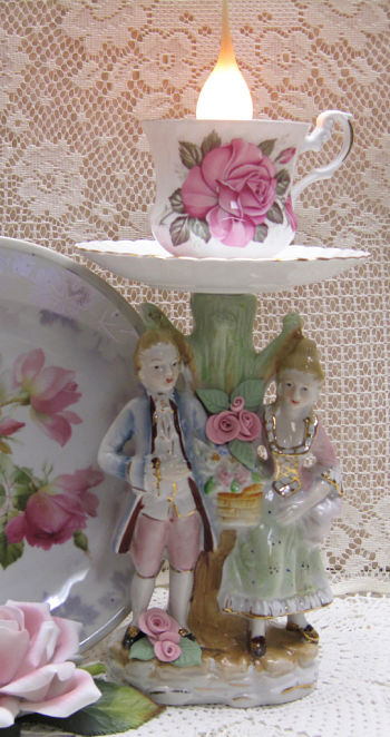 Pink Rose French Couples Lamp I-candle lamp, vintage couple lamp, cup and saucer lamp