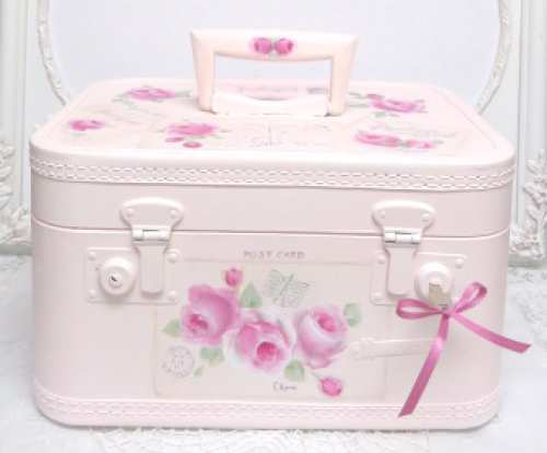 Pink Train Case with Pink Roses-pink train case, rose train case, train case, painted train case, rose painted train case