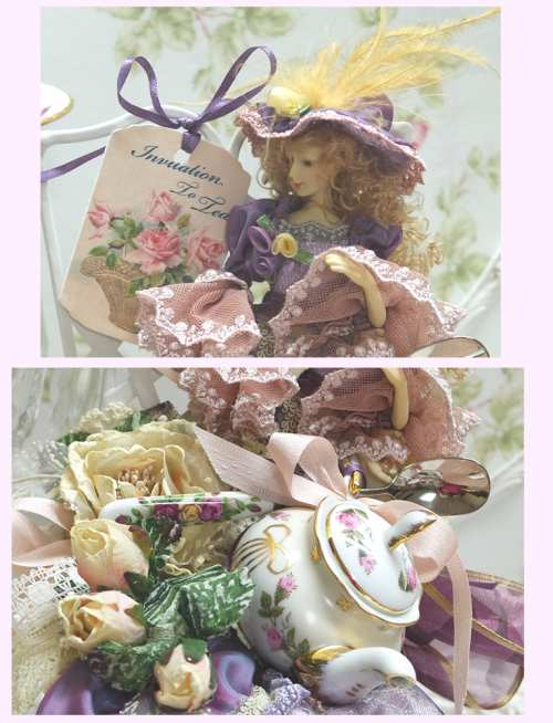 Lavender Lady Invitation To Tea-invitation to tea, lavender lady, teapot design