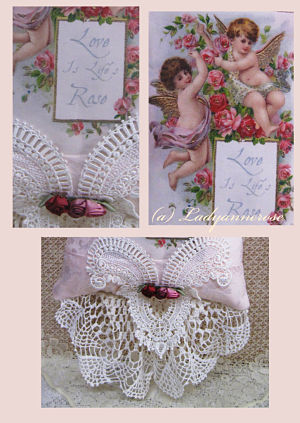 Love is Life's Rose Pillow-cherub pillow, hanging pillow, hanging cherubs, pink cherub pillow