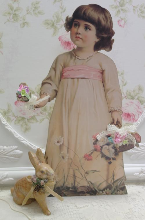Little Spring Girl-stand up, Victorian girl, girl with basket and bouquet