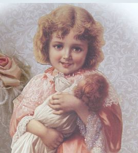 Victorian Girl with Doll-Girl with doll stand up