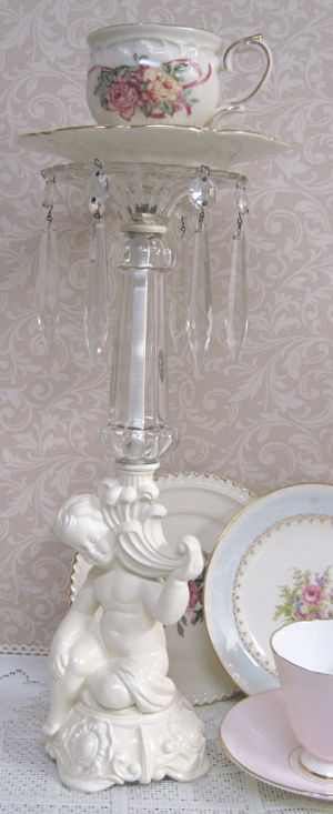 Cottage White Cherub Candle Stick-Cottage White Cherub, Candle Stick, cup and saucer candle stick. cup and saucer