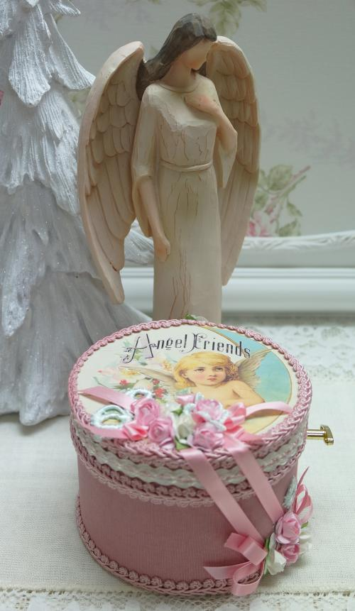Angel Friends Music Box-angel music box, silent night music box, pink rose music box,