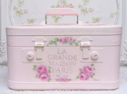 Victorian Woman Train Case-pink train case, painted train case, rose train case,French train case