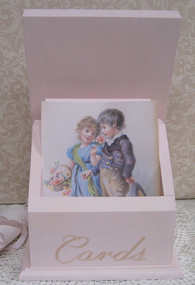 Pink Rose Card Box-Receipt Box, Post Card Box, Note Card Box, Rose Note Box, Painted Rose Box