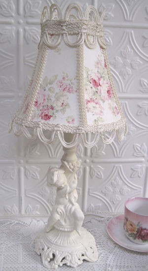 Cherub Lamp with Rose Shade-cherub lamp, rose lamp shade, white cherub, white cherub lamp