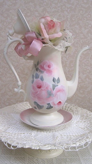 Tea Pot Roses 2-Hand Painted Pink Rose Teapot