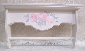 Rose Shelf-Hand Painted Rose Shelf, shelf with rod