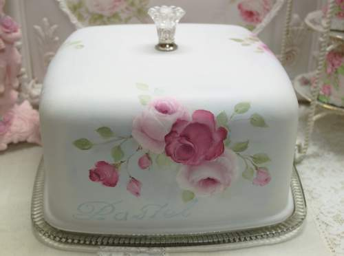 Square Rose Cake Cover-rose cake cover, pink rose cake cover, pink square cake cover, hand painted rose cake cover, square cake cover