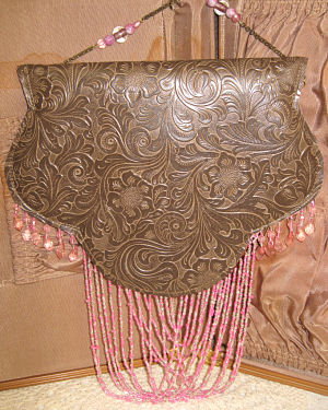 Brown Tooled Bag-Brown bag, pink bag, beaded bag, shoulder bag