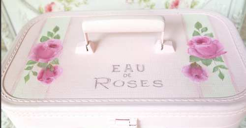 Pink Perfume Train Case-pink train case, perfume train case, rose train case