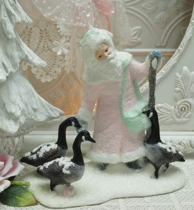 Santa with Canadian Geese-Santa with Geese, pink Santa, Victorian Santa, Pink Victorian sANTA