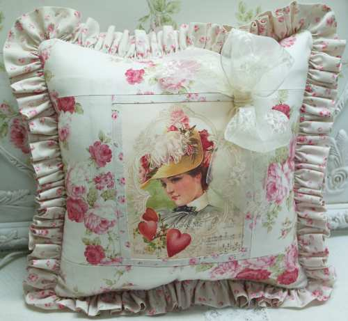 Victorian Lady Love Me Pillow-rose pillow, heart pillow, Victorian lady pillow