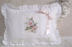 White Lace Pillow-White Pillow with Pink Roses