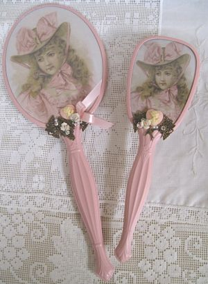 8 Pink Hat Mirror and Brush-pink. brush, mirror