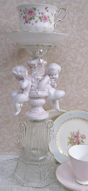 Pink Cherubs Candle Stick-Pink Cherubs, cherub candle stick, china cup candle