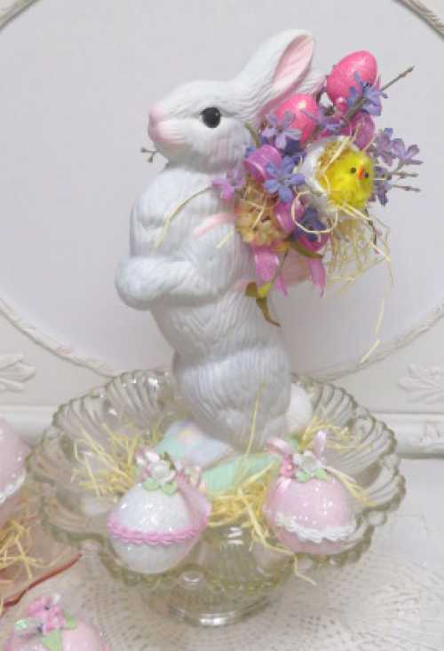 Pink Eggs Easter Rabbit-pink egg bunny, Easter Rabbit, Rabbit with pink basket