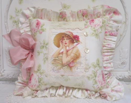Cover Girl Pillow-French cover girl pillow, rose pillow, ruffled French pillow