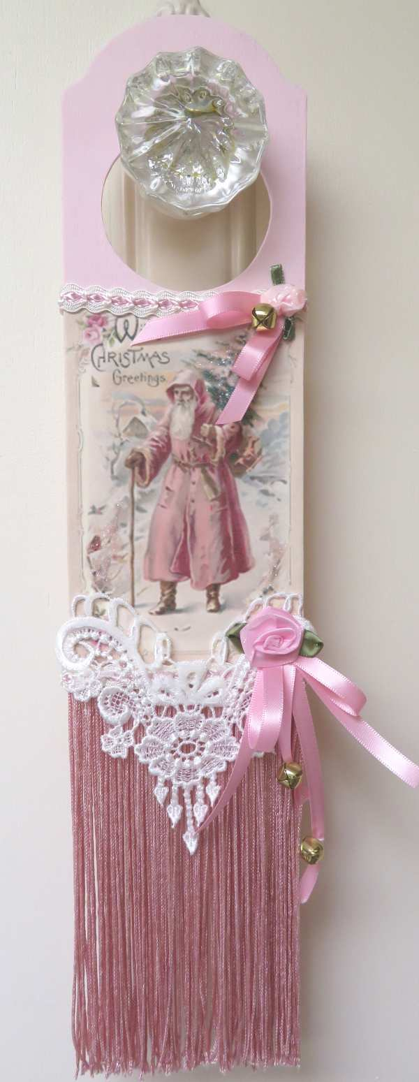 Pink Santa with Tree-door hanger, pink Santa hanger