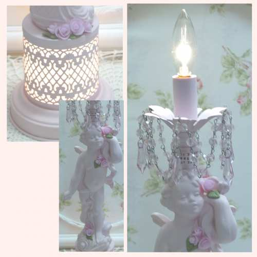 Pink Cherub Bottom & Top Lamp-