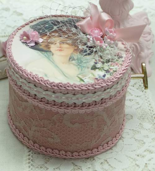 Lady In Blue Music Box-music box, woman music box, classical music box