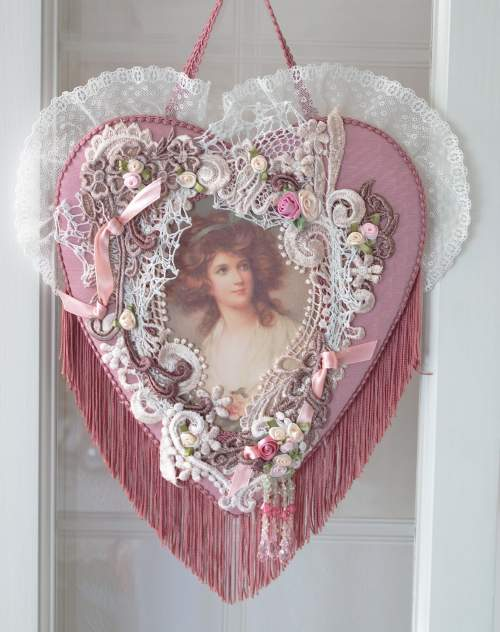 Pink Heart with Lady-Heart,pink heart,fringe heart,romantic heart
