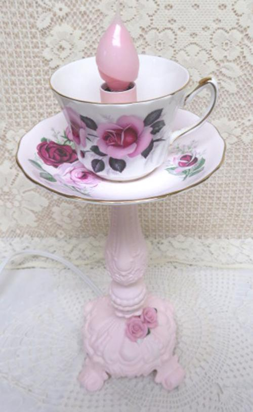 Pink Rose Cup Lamp-candle cup, candle stand, pink candle stand, rose cup and saucer
