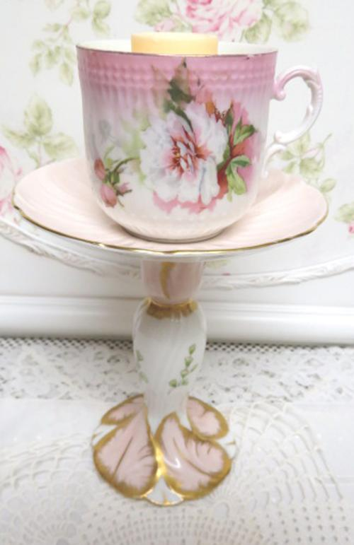 Pale Pink Candle Cup-pink candle cup, rose candle cup, pink cup and saucer