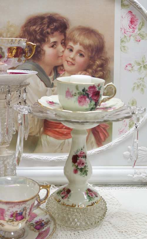 Rose Candle Stand-candle stand, rose candle stand, rose cup and saucer
