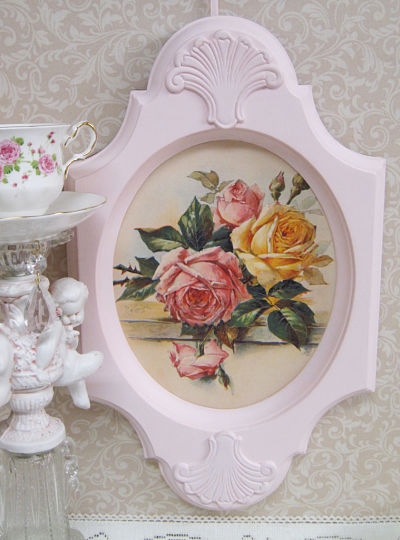 Rose Picture in Pink Frame-Oval rose print, pink frame, rose picture