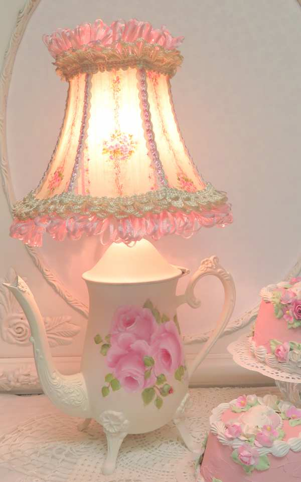 Pink Rose Tea Pot Lamp-teapot lamp, rose tea pot lamp, rose lamp,