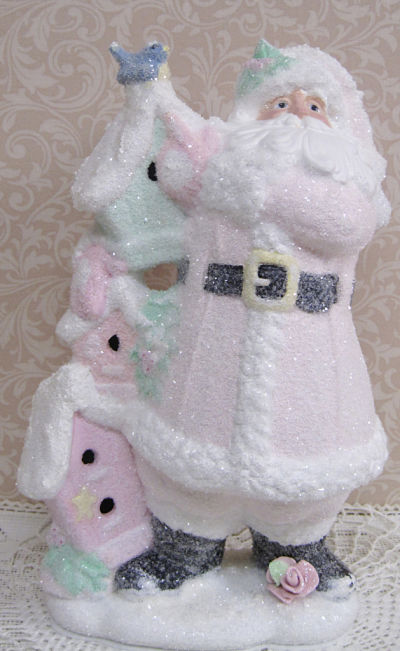 Santa with Bird Houses-Old Saint Nick in pink, pink Santa, bird house Santa