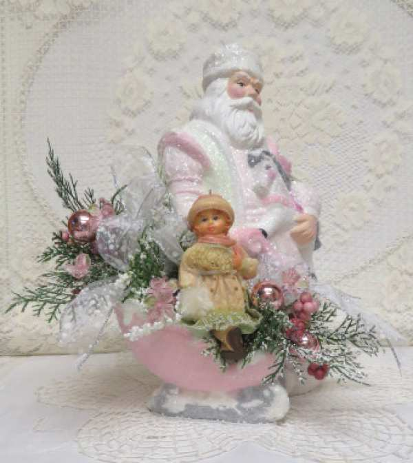 Santa with Sleigh Arrangement-Santa with sleigh, Santa arrangement, Santa with rocking horse