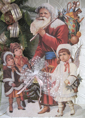 Victorian Santa with Children and Angel-Victorian Santa, Children with Santa, Angel, Accent Christmas,