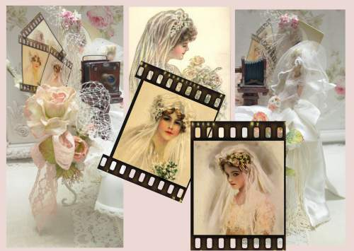 Bridal Collage-Bridal Collage, bridal doll, camera collage, bridal veil collage